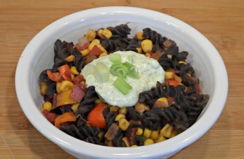 Southwest Black Bean Pasta w/ Avocado Cream Sauce